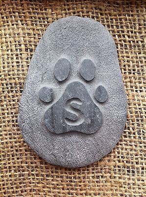 Hand carved Pet memory pebble, garden memorial, unique, plaque dog cat 7 • EUR 5,47
