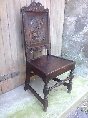Splendid 17th century demon bat carved oak Wainscot chair Anglesey North Wales 2