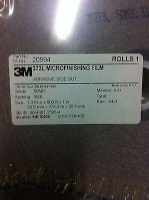 """3M 20594  373L Microfinishing Film Roll 50MIC 1.319""""X900' NEW 2"""