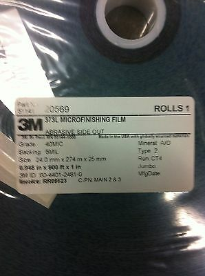 "3M 20569  373L Microfinishing Film Roll 40MIC .945""X900' NEW 2"