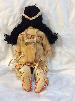 Deerskin and Beadwork  Father, Mother and Baby Handmade Antique America's 3