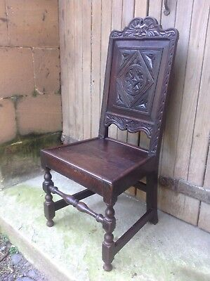 Splendid 17th century demon bat carved oak Wainscot chair Anglesey North Wales 3