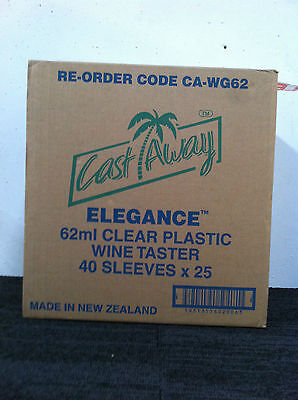 Wine taster 62 ML Plastic Clear 40 sleeves x 25 pieces (1000 /Carton )