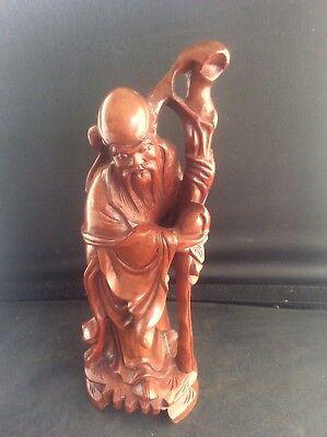 "Superb Vintage Chinese Handcarved Wooden Statue Figure Immortal God Shou Lao 8"" 5"