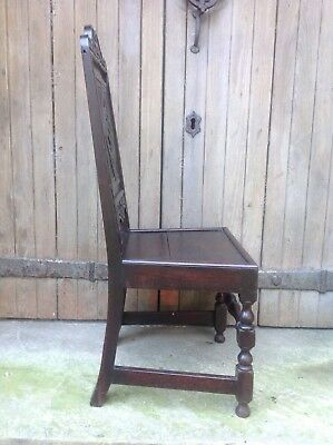 Splendid 17th century demon bat carved oak Wainscot chair Anglesey North Wales 10