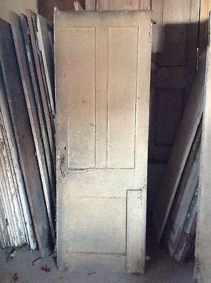 ANTIQUE DOOR NEW ENGLAND 18th CENTURY INTERIOR 3 RAISED PANEL ORIGINAL HINGES 4