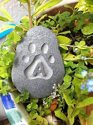 Hand made & carved Pet memorial pebble, garden, unique, plaque, cat, dog 3