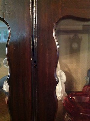 Flamed Mahogany Victorian Display Cabinet Queen Ann Legs 3