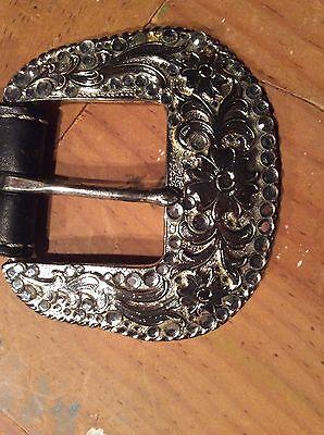 Girls Belts/ Nocona Belt Co black Leather Studded Belt 4