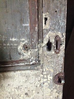 ANTIQUE DOOR NEW ENGLAND 18th CENTURY INTERIOR 3 RAISED PANEL ORIGINAL HINGES 3