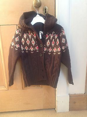 Okaidi Wool Hooded Cardigan, Age 4, Brown, French Designer, Exc Condition! 2