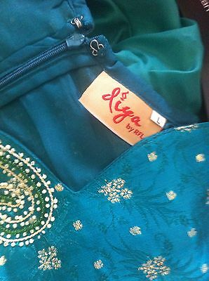 Green Gold Pearl Design Salwar Kameez Stiched Suit Size L 10