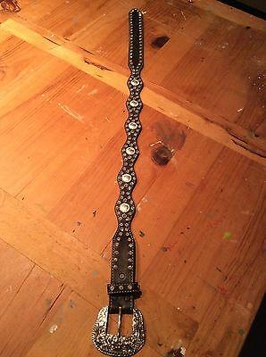 Girls Belts/ Nocona Belt Co black Leather Studded Belt 2