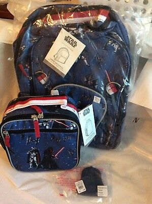 Pottery barn SET LARGE Star Wars Darth Vader Tech Backpack ICE Bag LUNCH BOX