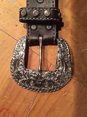 Girls Belts/ Nocona Belt Co black Leather Studded Belt 5