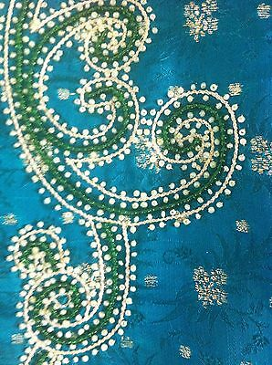 Green Gold Pearl Design Salwar Kameez Stiched Suit Size L 6
