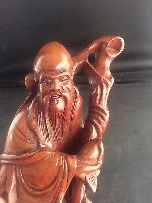 "Superb Vintage Chinese Handcarved Wooden Statue Figure Immortal God Shou Lao 8"" 4"
