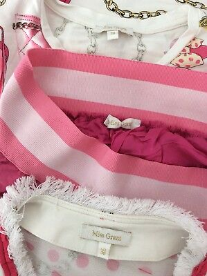 Miss Grand Outfit, Set, Size 38, Age 10,Skirt, Top & Cardigan, Pink & White, Vgc 12