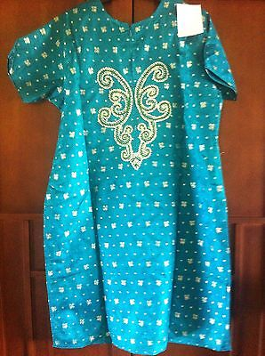 Green Gold Pearl Design Salwar Kameez Stiched Suit Size L 3