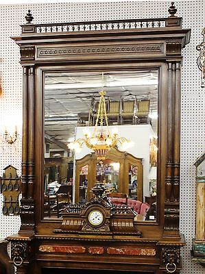 Antique Louis XVI Walnut French Fireplace Mantle Carved Lions w/ Original Clock 8