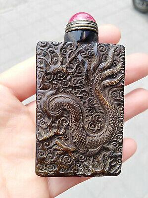 Natural Horn Carved Snuff Bottle Dragon pattern Statue True Horn 6