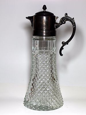 Vintage Pressed glass Silverplate  Claret Pitcher w/chill tube 3