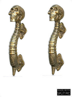 "4 small SKULL head handle DOOR PULL spine natural AGED BRASS old style 8"" B 5"