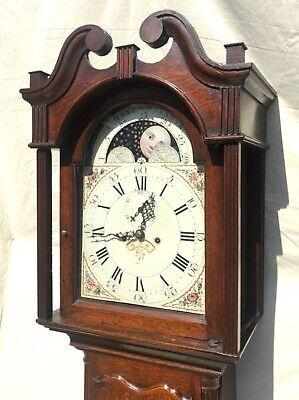 Antique Rolling Moon Phase Oak Mahogany Longcase Grandfather Clock HAYES WREXHAM 4