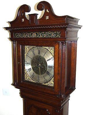 Antique Brass Dial Burr / Pollard Oak Longcase Grandfather Clock MOSS FRODSHAM 3
