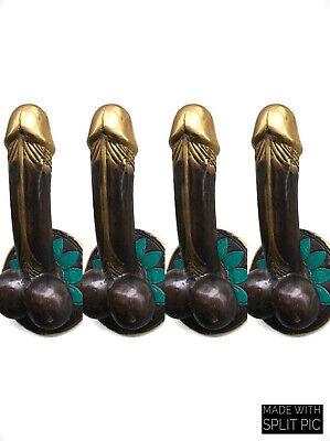 "4 PENIS shape DOOR PULL or HOOK hand made solid brass 9 "" handle heavy pair B 7"