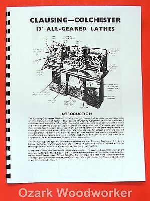 """CLAUSING-Colchester 13/""""x24/"""" 13/""""x36/"""" Metal Lathe Operator Part Manual 0160"""