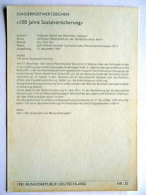 Maximumkarte Nr. 35 / 1981 mit M 1116, 100 Jahre Sozialversicherung, Deutschland