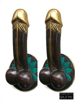 """3 PENIS shape DOOR PULL or HOOK hand made solid brass 9 """" handle heavy B 2"""