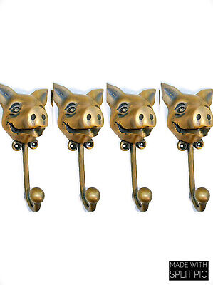 """4 heavy PIG HOOK WALL MOUNTED COAT old style solid brass BAG ANIMAL 6"""" HANGER B 8"""