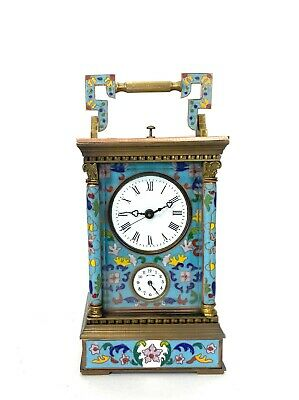 French Style Floral Turquoise Enamel Brass Case 8 Day Repeater Carriage Clock 2