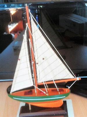 Modellschiff Holz Segler mit Takelage Boot Maritime Tisch Kamin Dekoration weis 6