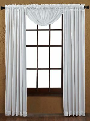 """84"""" Long White Sheer Ruffled Window Curtains Romantic Cottage Cotton 2 Panels 8"""