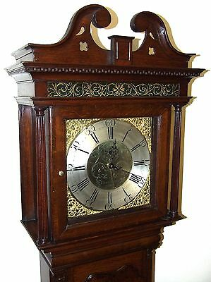 ~ Antique Brass Dial Burr / Pollard Oak Longcase Grandfather Clock MOSS FRODSHAM 4