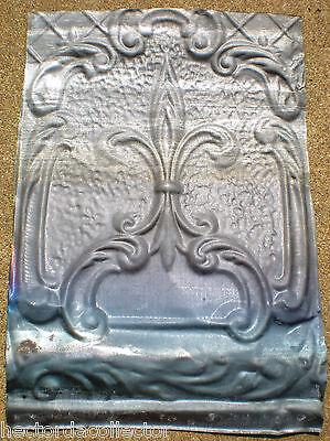 SALE Elegant Antique Ceiling Tin Tile Pie Cupboard Door Stars Fleur De Li Chic 3