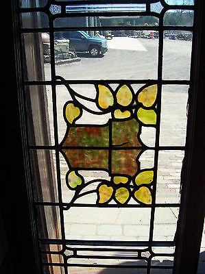 Arts & crafts leaves w crest in center stained glass transom window (SG 1226) 6