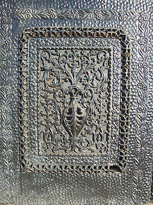 Square Very Decorated Cast iron fire front painted   (F 07)