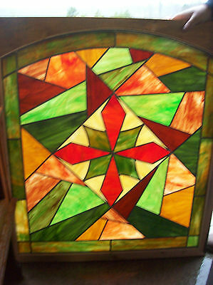 2 avail. Colorful Abstract Stained glass window w/ symetrical center (SG 1192) 3