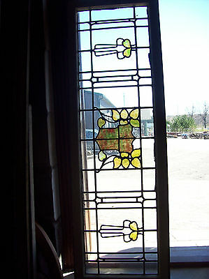 Arts & crafts leaves w crest in center stained glass transom window (SG 1226) 5