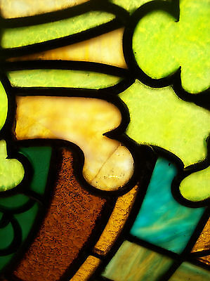 Arched Transom window w/ center column design stained glass (SG 1258) 3