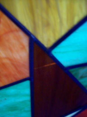 2 avail. Colorful Abstract Stained glass window w/ symetrical center (SG 1192)