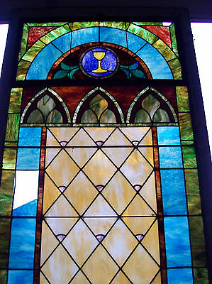 Stained glass window w/ flower and MIGHTY GOLDEN CHALICE #3 3