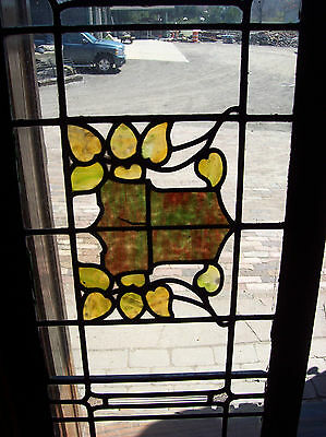 Arts & crafts leaves w crest in center stained glass transom window (SG 1226) 2