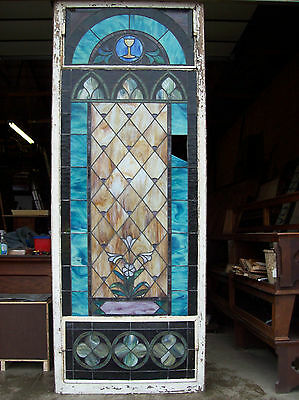 Stained glass window w/ flower and MIGHTY GOLDEN CHALICE #3 9
