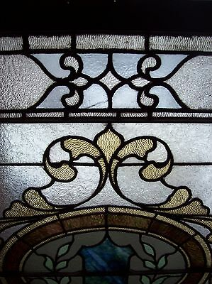 Very nice ornate stained and text glass window sky tone  (SG 1562) 5
