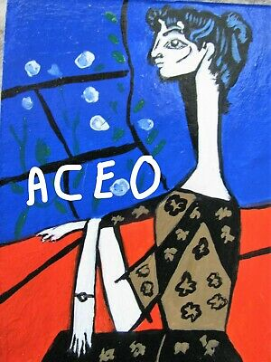 "A864 Original Acrylic Art Aceo Painting By Ljh  ""Picasso Lady"" 3"